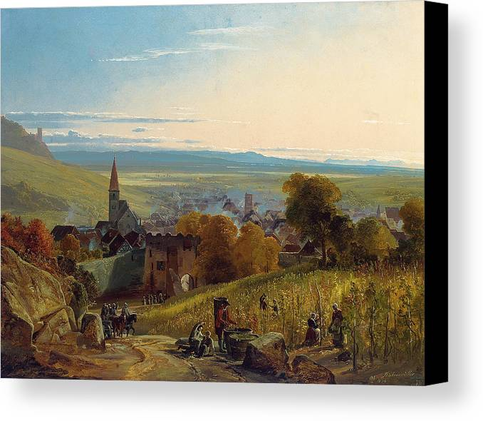 The Travellers Canvas Print featuring the painting The Travellers by Christian Ernst Bernhard Morgenstern