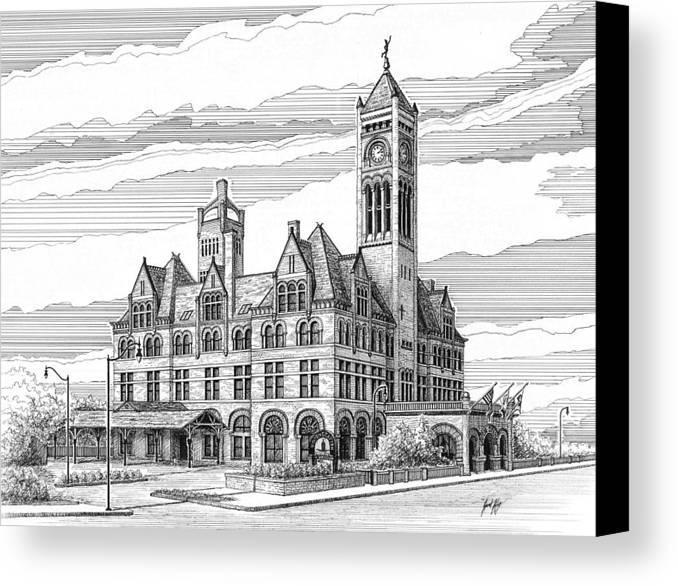 Union Station In Nashville Canvas Print featuring the drawing Union Station In Nashville Tn by Janet King