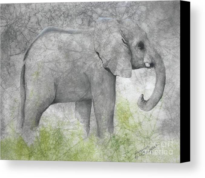 Elephant Canvas Print featuring the painting Vanishing Thunder Series-baby Elephant II by Suzanne Schaefer