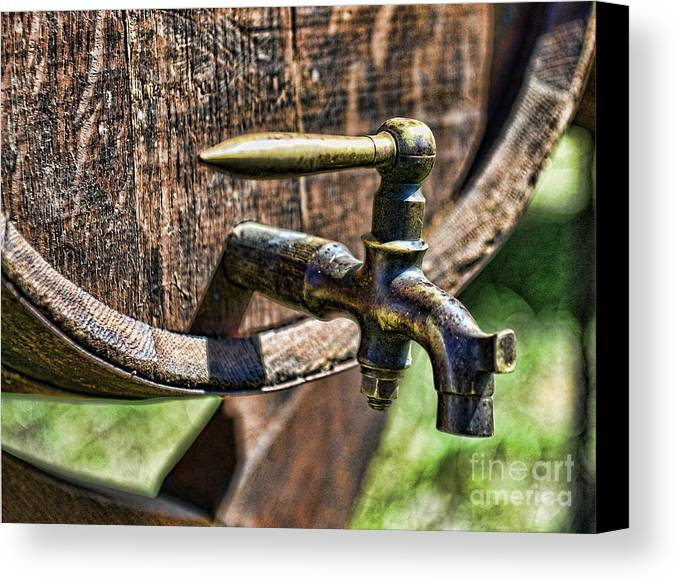 Barrel Tap Canvas Print featuring the photograph Weathered Tap And Barrel by Paul Ward