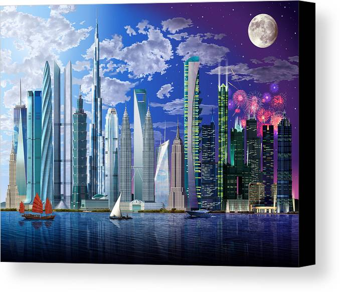 Architecture Canvas Print featuring the photograph Worlds Tallest Buildings by Garry Walton