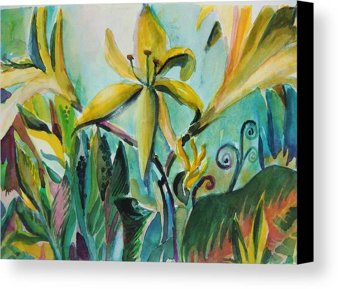 Lily Canvas Print featuring the painting Yellow Day Lilies by Mindy Newman