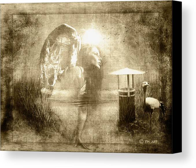 Angel Canvas Print featuring the digital art Angel Spirit Sepia by Yvon van der Wijk