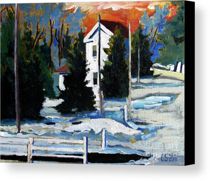 Snow Canvas Print featuring the painting Big Melt by Charlie Spear