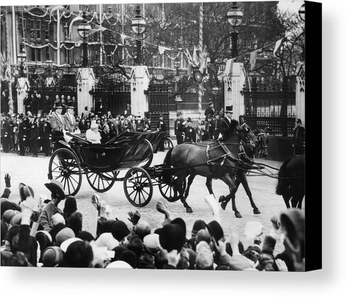 1930s Canvas Print featuring the photograph British Royal Family. In Coach British by Everett