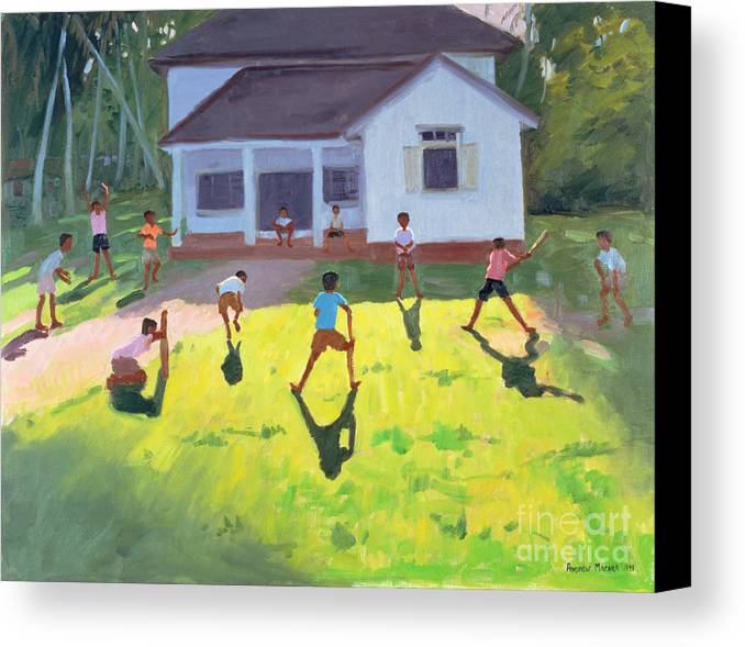 Children Canvas Print featuring the painting Cricket by Andrew Macara