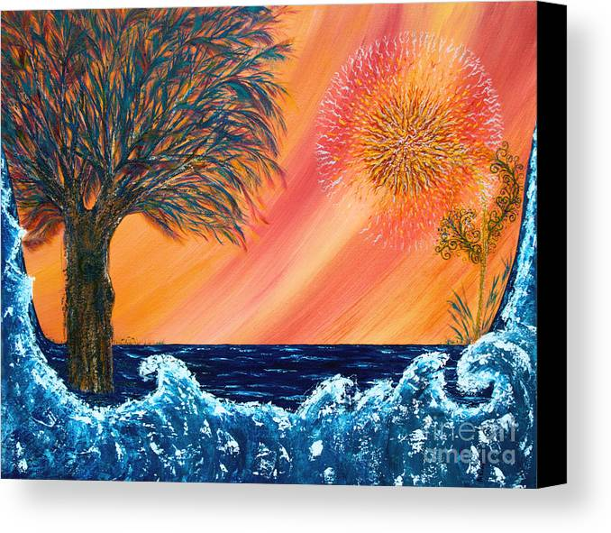 Sky Canvas Print featuring the painting Europa Tsunami by Pm Ernst