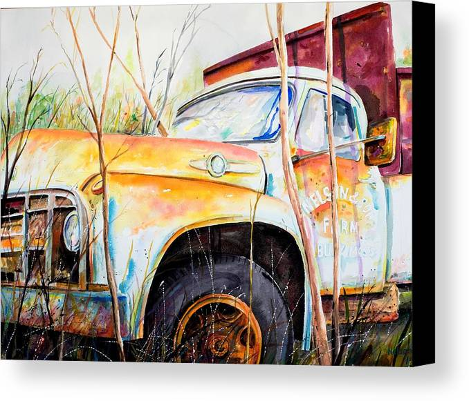 Truck Canvas Print featuring the painting Forgotten Truck by Scott Nelson
