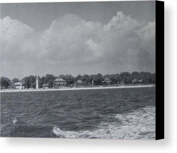 Sea Canvas Print featuring the photograph Lighthouse View From The Sea by De Beall