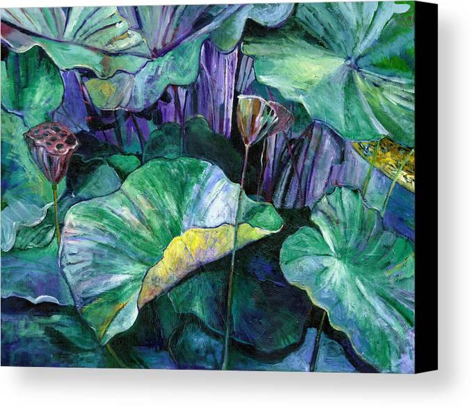 Lotus Canvas Print featuring the painting Lotus Pond by Carol Mangano