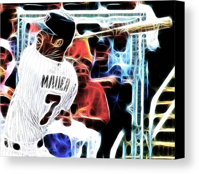 Minnesota Twins Canvas Print featuring the digital art Magical Joe Mauer by Paul Van Scott