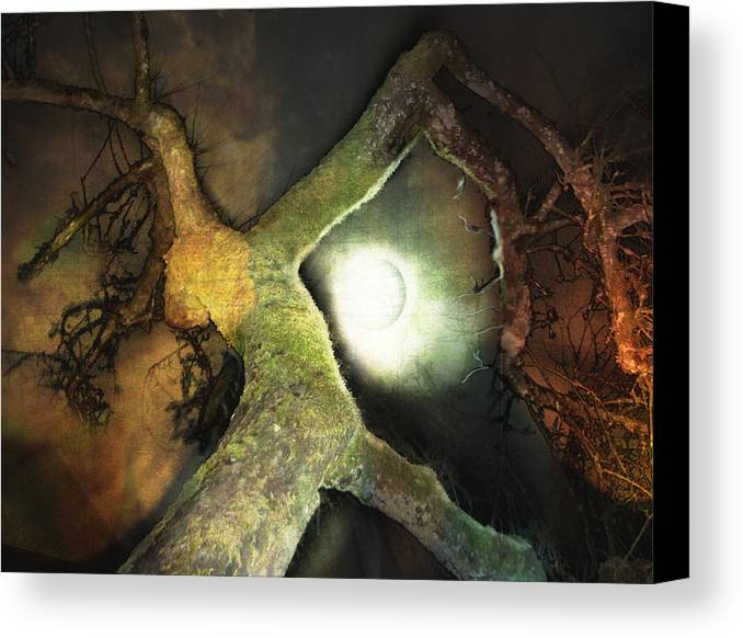Moon Canvas Print featuring the mixed media Moon Song by Janet Kearns