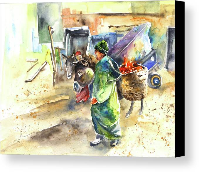 Travel Canvas Print featuring the painting Morrocan Market 04 by Miki De Goodaboom