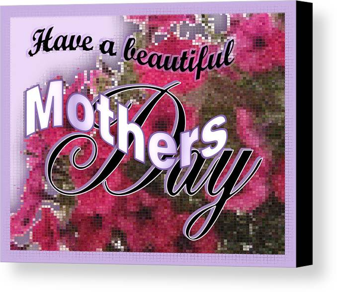 Greeting Card Canvas Print featuring the digital art Mothers Day Pink Petunias by Susan Kinney