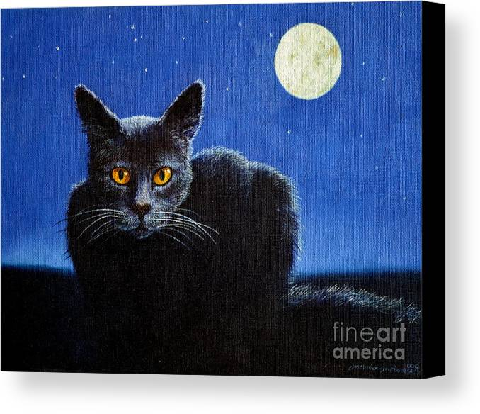 Cat Canvas Print featuring the painting Name Of The Cat Nightmare by Christopher Shellhammer