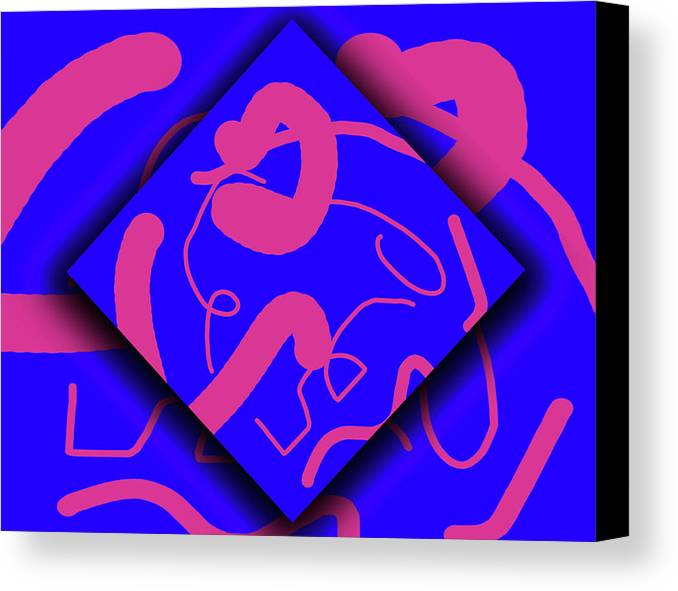 Abstract Canvas Print featuring the digital art Neon Out Of Bounds by Carolyn Marshall