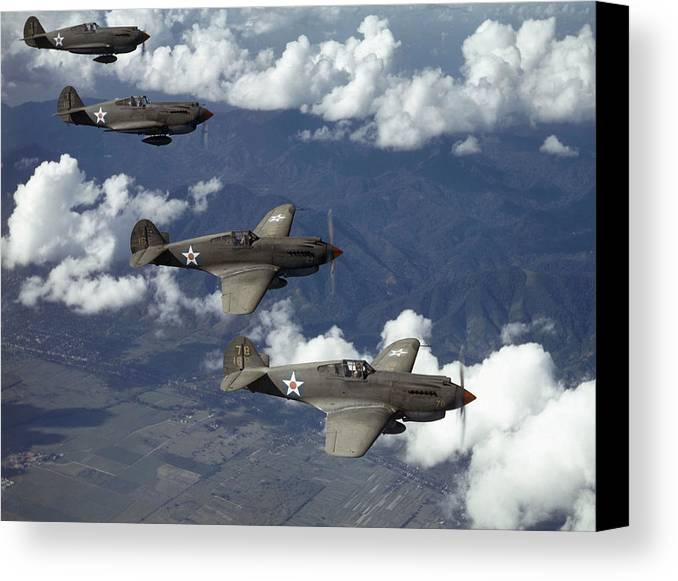 Day Canvas Print featuring the photograph P-40 Pursuits Of The U.s. Army Air by Luis Marden