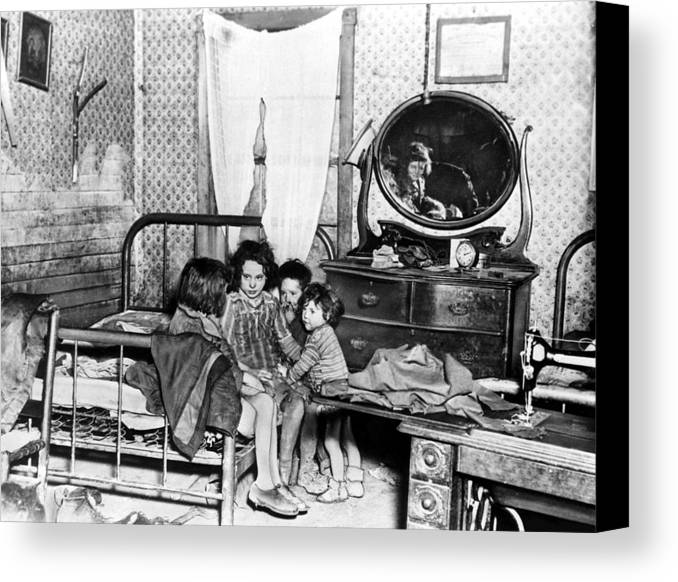 1920s Canvas Print featuring the photograph Poverty Stricken Children In A Rural by Everett
