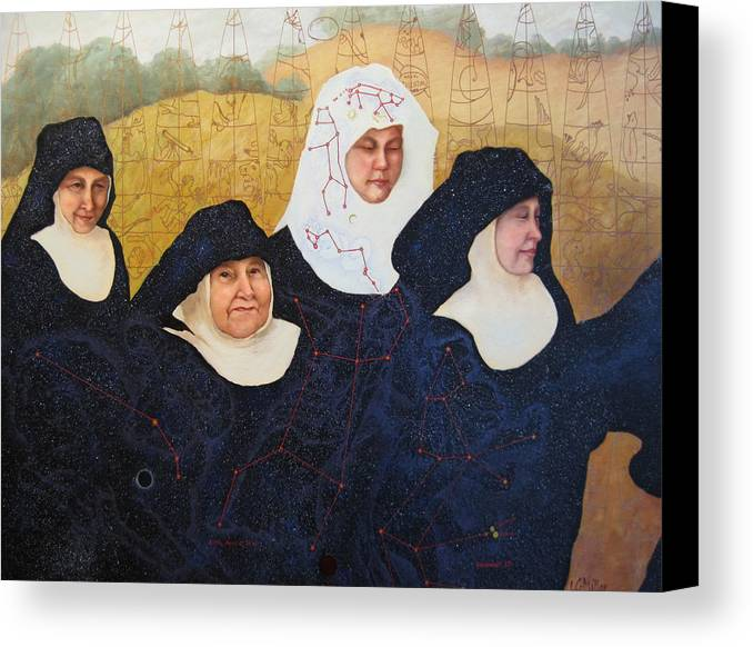 Figures Canvas Print featuring the painting Praenuntius by Leda Miller