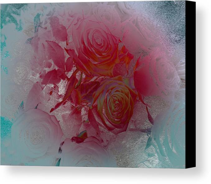 Roses;rose;flower;fiore;red;rosso;green;verde;spring;primavera;decorative;decorativo Canvas Print featuring the digital art Red Roses Rose Rosse by Monica Ghit