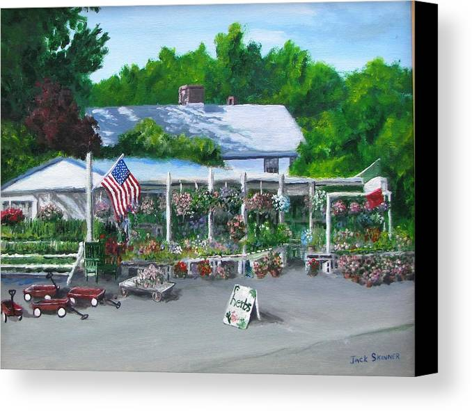 Farm Stand Canvas Print featuring the painting Scimone's Farm Stand by Jack Skinner