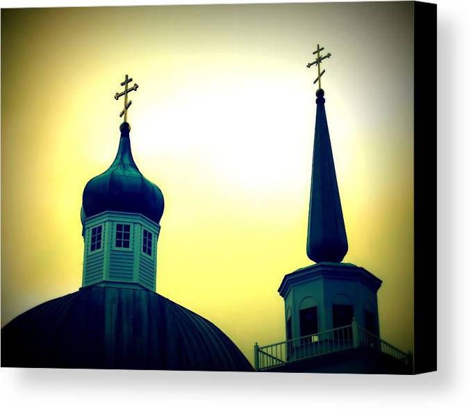 Architecture Canvas Print featuring the painting Sitka Russian Orthodox 9 by Randall Weidner