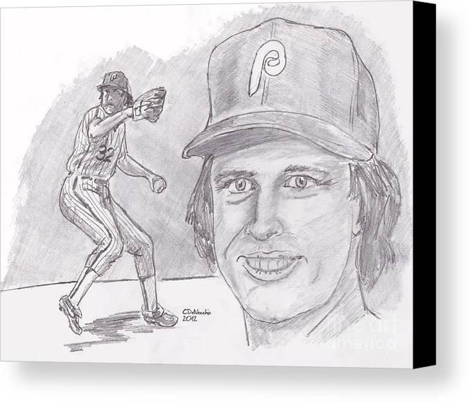 Phillies Canvas Print featuring the drawing Steve Carlton- Lefty by Chris DelVecchio