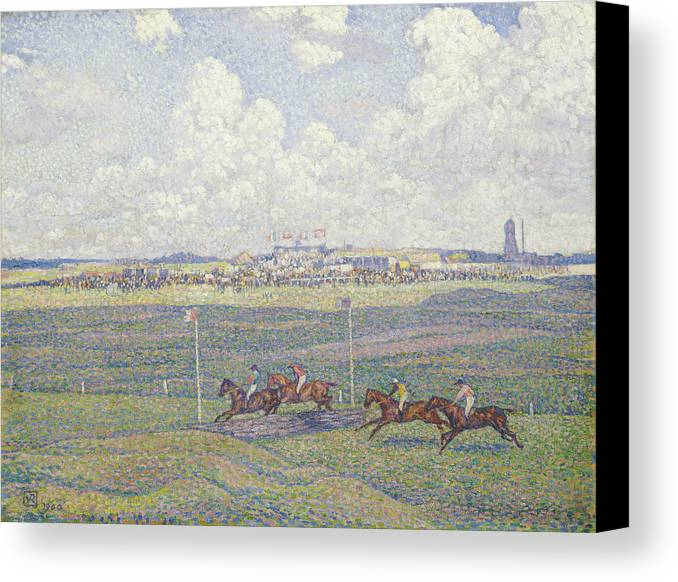 Le Champ De Courses A Boulogne-sur-mer Canvas Print featuring the painting The Racecourse At Boulogne-sur-mer by Theo van Rysselberghe