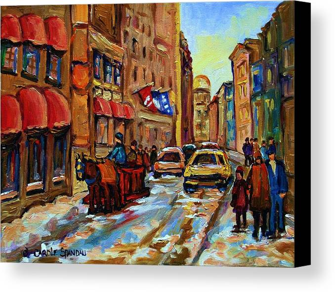 Horses Canvas Print featuring the painting The Red Sled by Carole Spandau