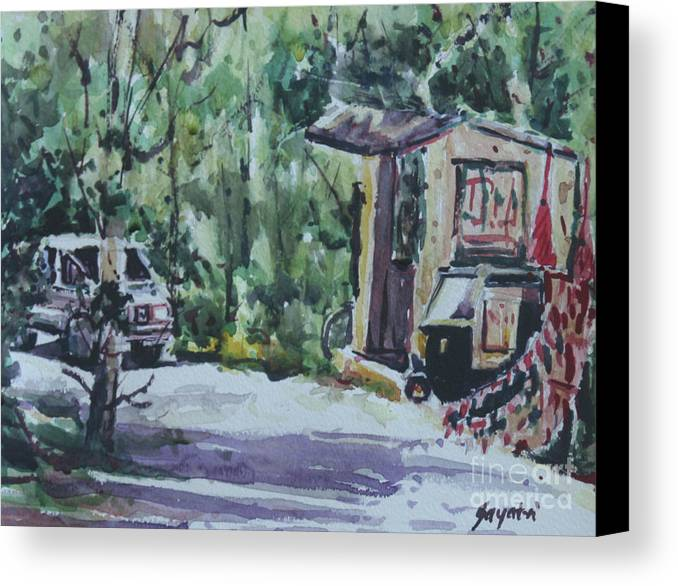 Truck Canvas Print featuring the painting The Waiting Auto by Gayatri Vasudevan