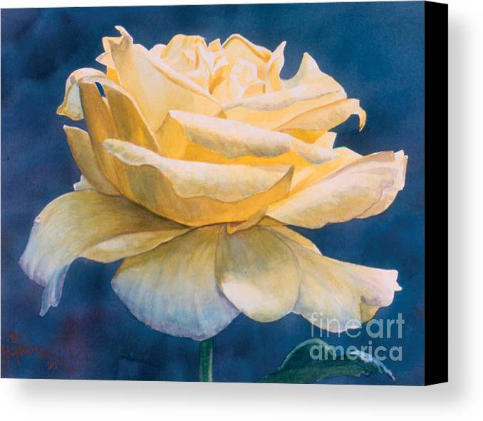 Flower Canvas Print featuring the painting Yellow Rose by Phil Hopkins