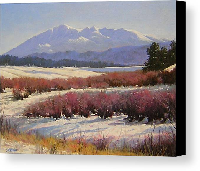 Landscape Canvas Print featuring the painting 051209-1814 Pikes Peak - North View by Kenneth Shanika