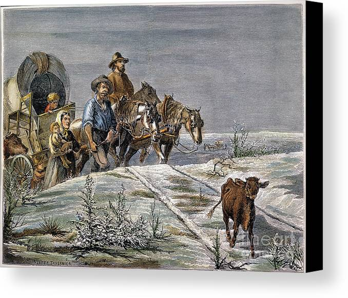 1874 Canvas Print featuring the photograph Emigrants, 1874 by Granger