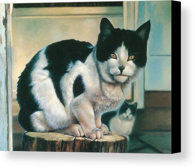 Cat Canvas Print featuring the painting Farm Cat by Hans Droog