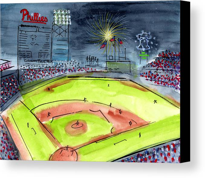 Baseball Canvas Print featuring the painting Home Of The Philadelphia Phillies by Jeanne Rehrig