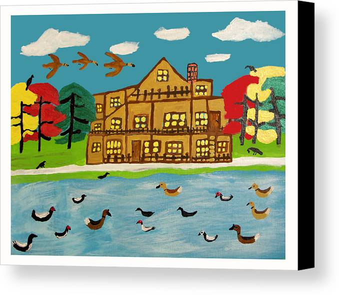 Wildlife Birds Landscape Canvas Print featuring the painting The Wildlife Hotel by Betty Roberts