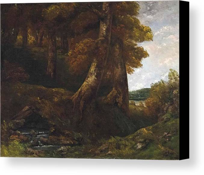 Gustave Courbet Canvas Print featuring the painting Woods Entrance by Gustave Courbet