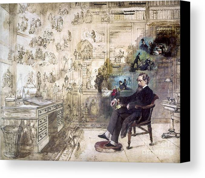1870s Canvas Print featuring the photograph Charles Dickens (1812-1870) by Granger