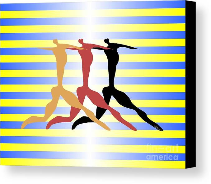 Dance Canvas Print featuring the digital art 3 Dancers by Walter Oliver Neal