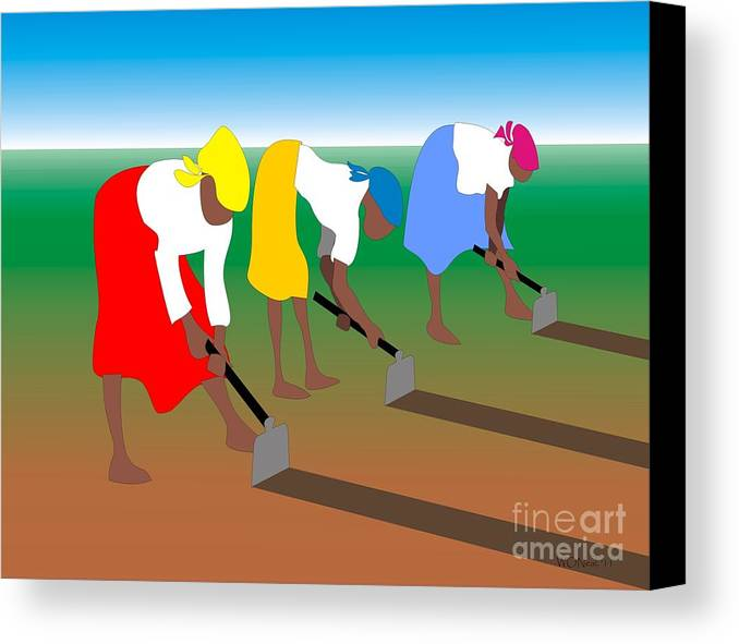 Portraits Canvas Print featuring the digital art 3 Women Working by Walter Oliver Neal