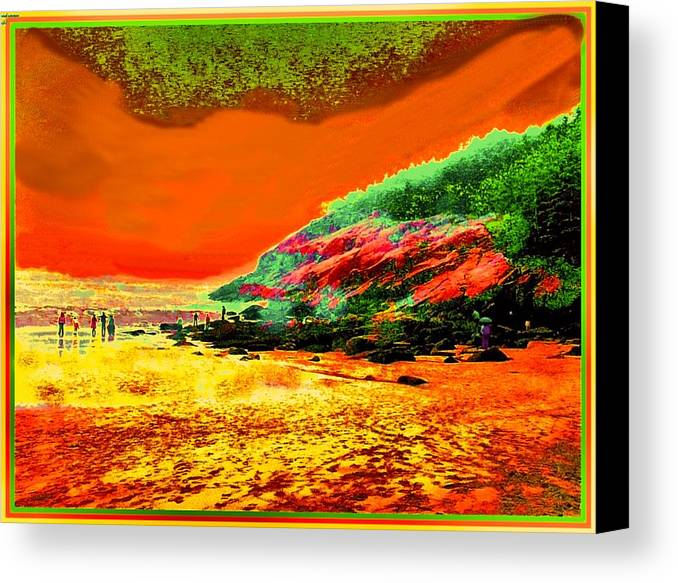Colorful Landscape Canvas Print featuring the painting 34g  Beach After A Storm by Ed Immar