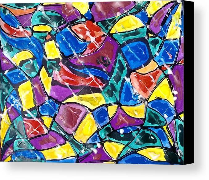 Abstract Canvas Print featuring the painting Jugglery Of Colors by Baljit Chadha