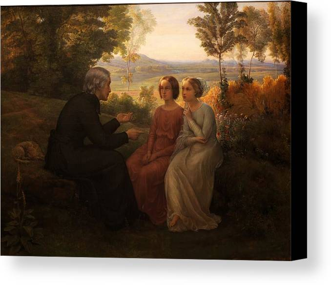Louis Janmot - Poem Of The Soul 09 - The Grain Seed Canvas Print featuring the painting Poem Of The Soul by MotionAge Designs