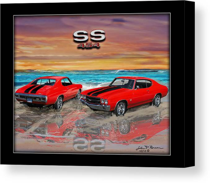Muscle Car Canvas Print featuring the painting 70 Chevell Ss 454 by John Breen