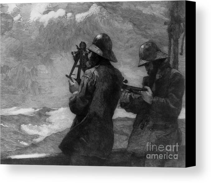 Winslow Homer Canvas Print featuring the painting Eight Bells by Winslow Homer