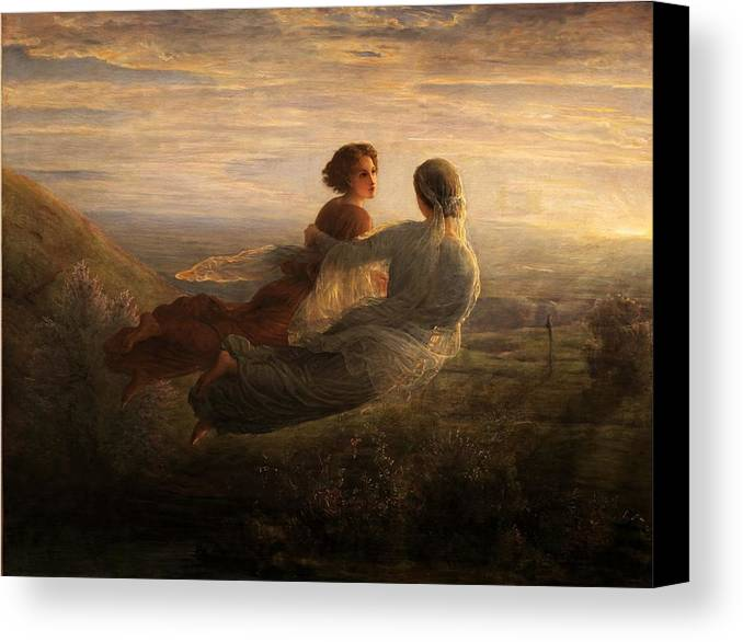 Louis Janmot - Poem Of The Soul 16 - The Soul's Flight Canvas Print featuring the painting Poem Of The Soul by MotionAge Designs