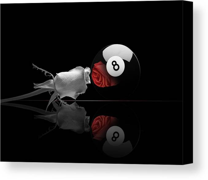 Pool Canvas Print featuring the digital art 8BW by Draw Shots