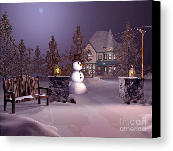 Winter Landscape Canvas Print featuring the digital art A Calm Winters Night by John Junek