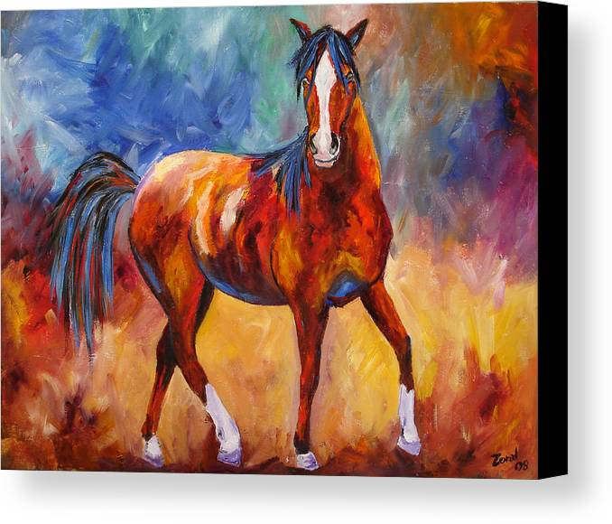 Horse Canvas Print featuring the painting Abstract Horse Attitude by Mary Jo Zorad