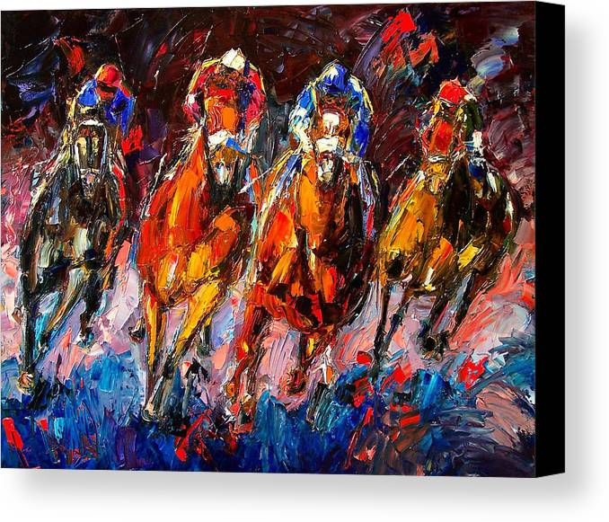 Horse Race Canvas Print featuring the painting Adrenaline by Debra Hurd